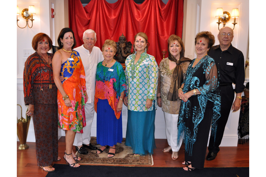Rebecca Taylor, Medora and Buck Fry, Sally Kessler, Lynn Hayes, Karen Gallagher and Jamo Powell were part of the planning crew for Bird Key Yacht Club's Passage to India night, Saturday, July 21.