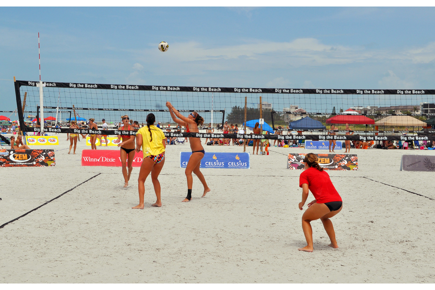 The top two women's teams in the Open division play one another during the Siesta Key Gulf Open, Saturday, July 9 at Siesta Key Beach.