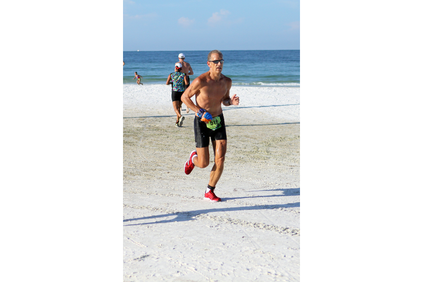 Jeff Lessie, a duathlon participant, was the first person to cross the finish line out of all 600 people who participated.