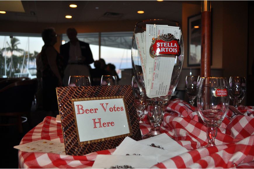 People placed their votes in the beer glass.