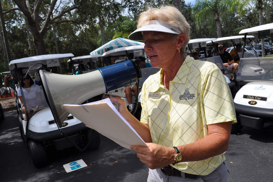 University Park Country Club's Sue Ertl gave golfers their instructions immediately before the 1 p.m. shotgun start.