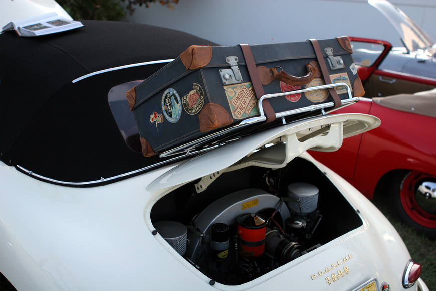 Marc Woonter of Tampa's Porsche had a funky old suitcase attached to the back of the car.