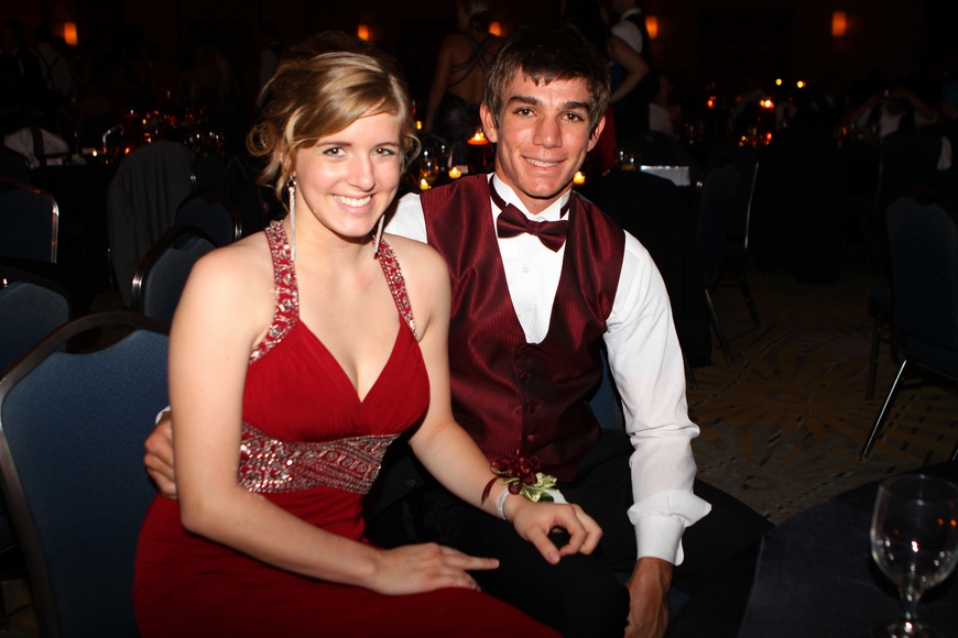 Emilee Batcheler and Tyler Doughty pose together while taking a break from the dance floor.