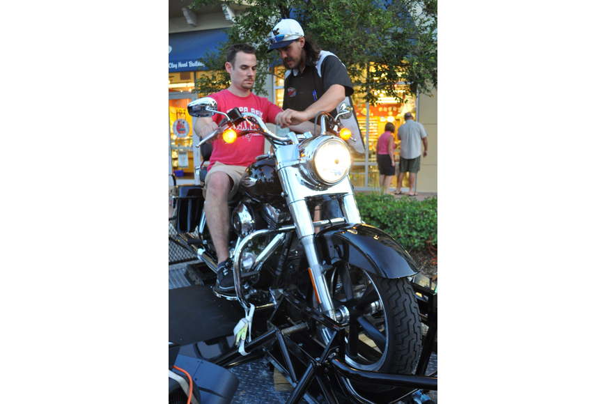 Shawn Caffrey tried Manatee River Harley-Davidson's Jump Start Rider Experience, with the help of Harley mechanic Bobby Murphy.
