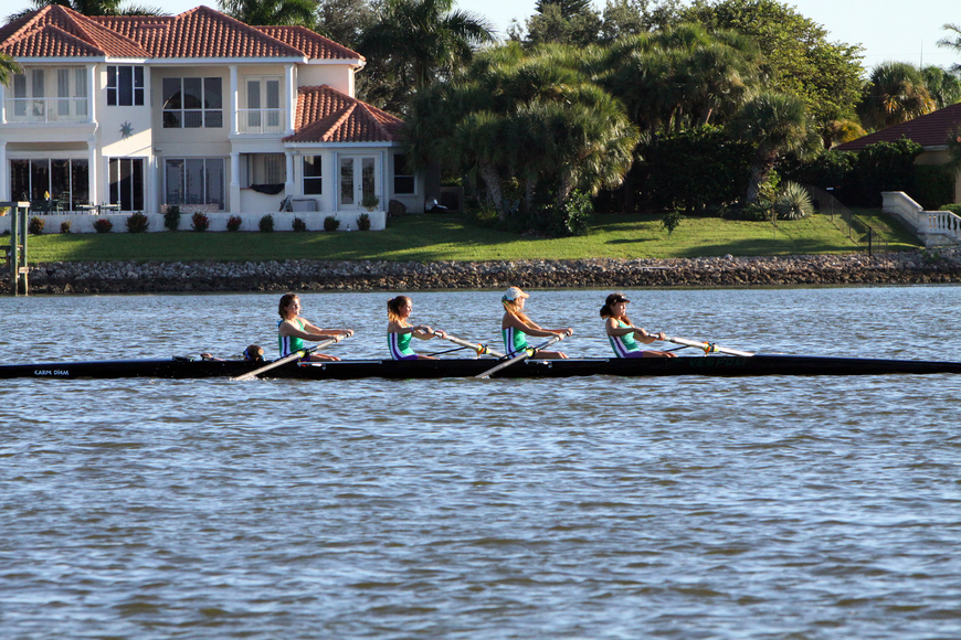 The Sarasota Scullers came in first in the Womens HS 4+.
