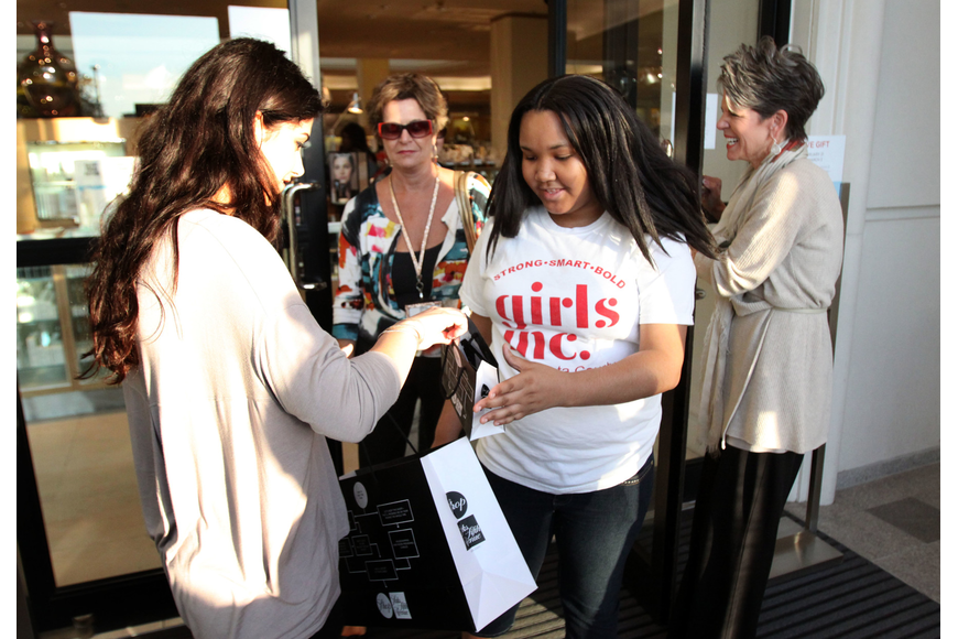 Christina Sadler, marketing coordinator, gave each girl and the volunteers at Girls Inc a gift bag full of samples and goodies following the end of their tour.