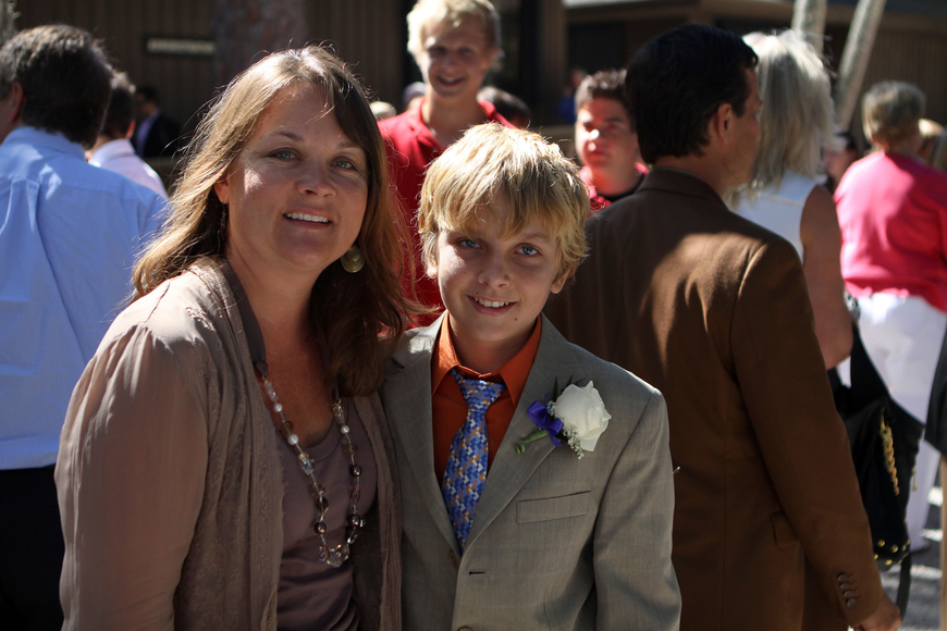 Jacob Flanders poses with his mom, Jennifer, Friday, June 3 after ODA's 6th grade graduation at Siesta Key Chapel.