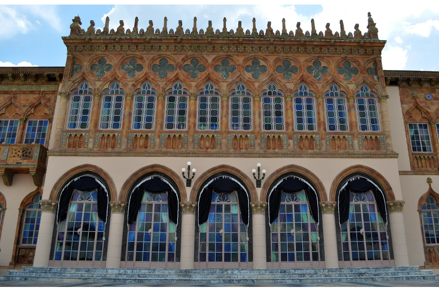 An exterior shot of the Ca' d'Zan Mansion at the Ringling Museum of Art.