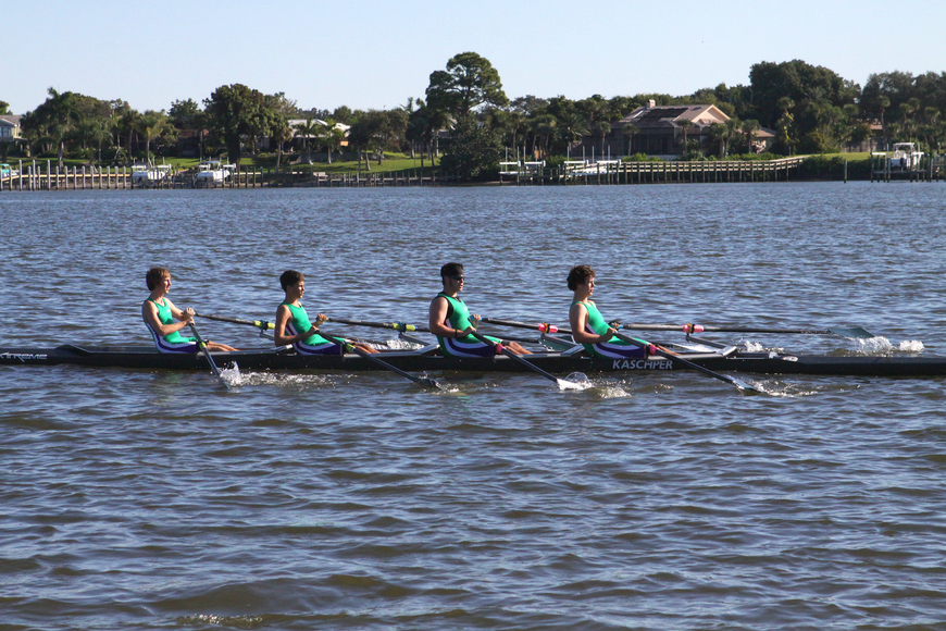 The Sarasota Scullers B team came in first in the Mens HS 4X.
