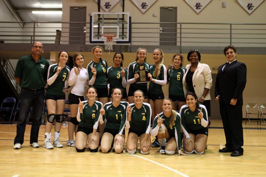 The St. Stephen's team poses with their plaque Thursday, Oct. 25, after winning first place in their division.