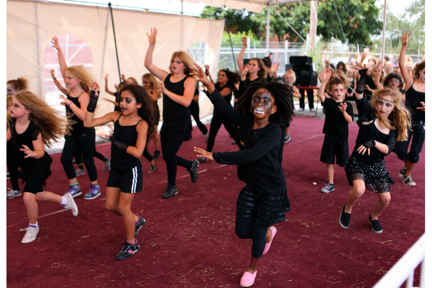 "Dance students from Wakeland Elementary and Gullet Elementary perform ""Thriller"" Saturday, Oct. 27, at the Sarasota Pumpkin Festival."