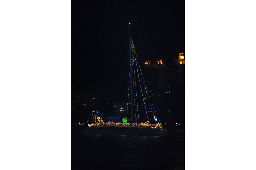 This sailboat had lights traveling all the way up the mast.