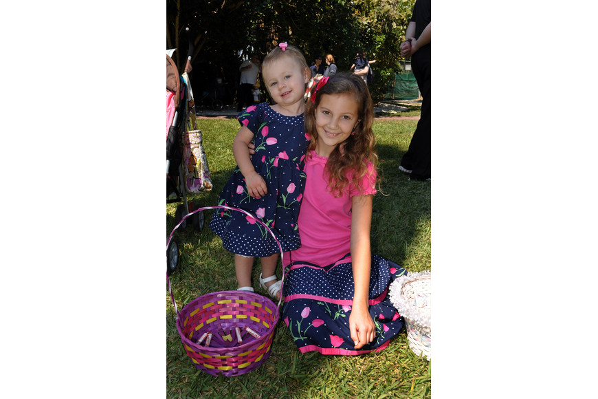 Madelyn Walsh, 2, and her aunt Abbey Walsh, 10, wore matching outfits to Jungle Gardens' 12th annual Jungle Trails and Bunny Tails.