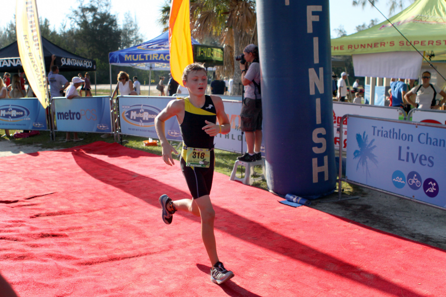 Mitch Irwin, 13, was one of the youngest competitors in the triathlon.