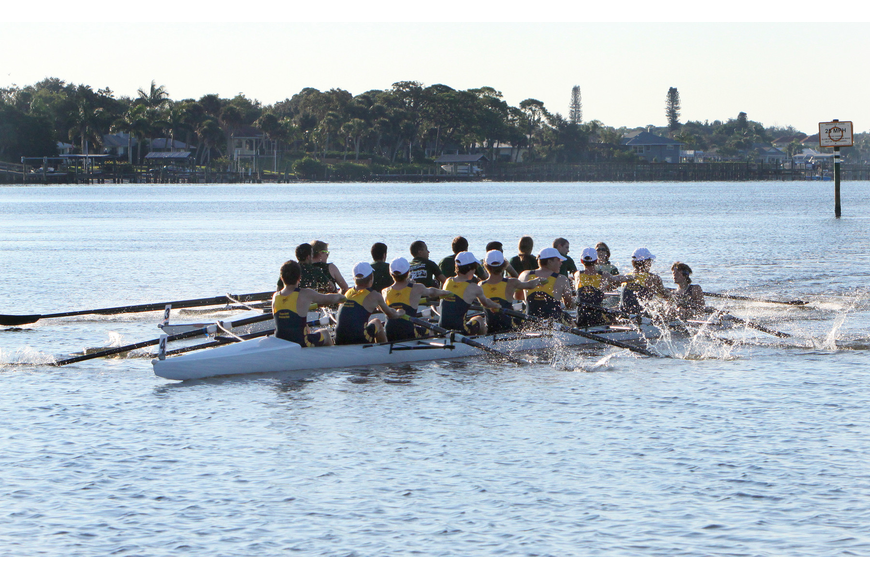 The USF team in the Mens Collegiate Novice 8+