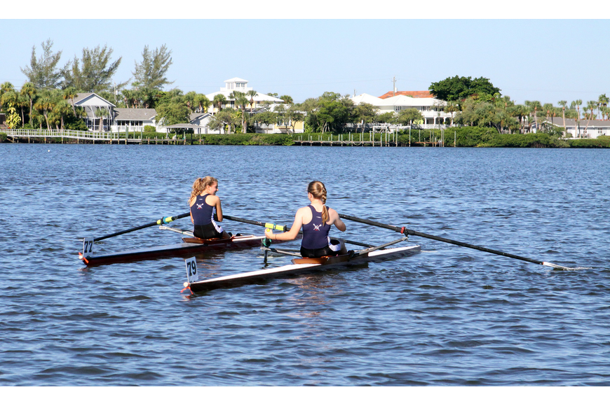 Negreiro and Fitzgibbon, both of Westminster Academy, have a bit of trouble out on the water.