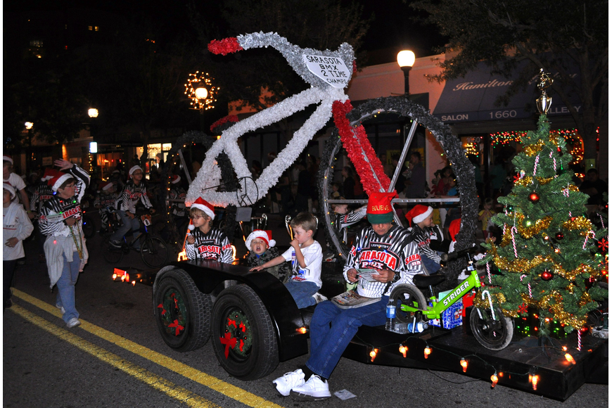 Sarasota BMX's float featured a larger-than-life BMX bike.