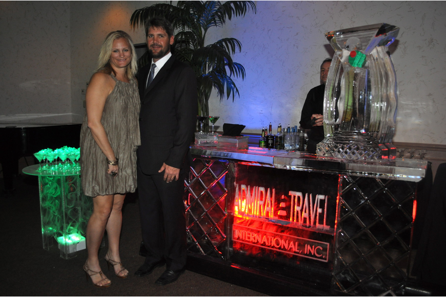 Admiral Travel co-owners Malaka and Ryan Hilton went all out for the event and featured an entire bar made of ice.