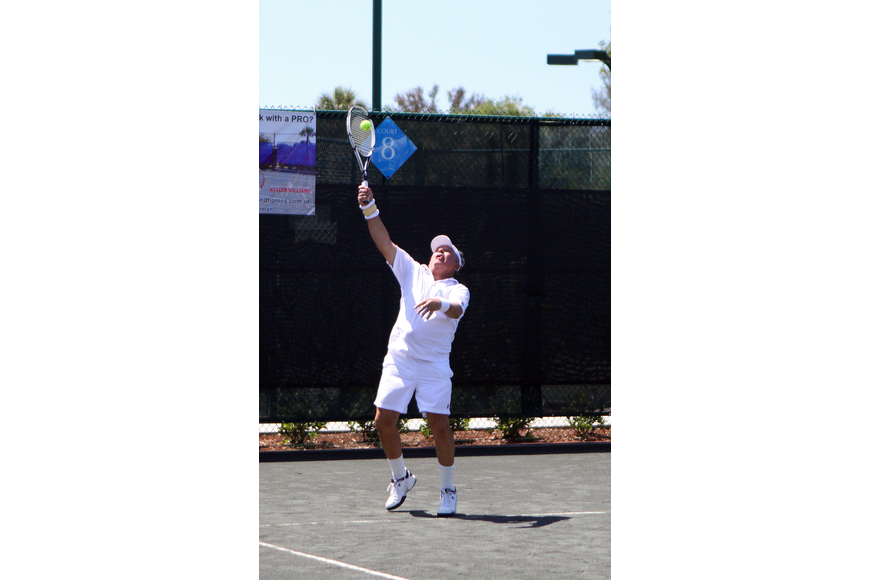Tom Cail serves up the ball Friday, April 22 during the Lunch Bunch All-Star Children's Foundation fundraiser at the Longboat Key Club Tennis Gardens.
