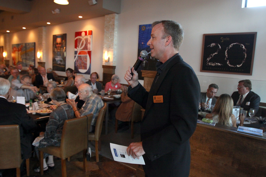 Jeffery Kin, the artistic director at the Players Theatre, speaks to the crowd Saturday, May 7 during the private gala for The Players Theatre at the new Patrick's 1481.