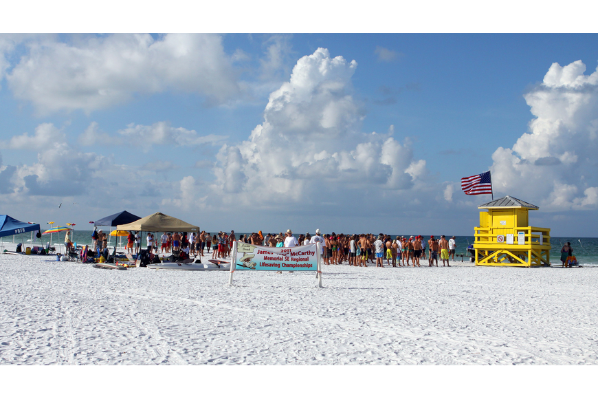 Part of the Siesta Key Public Beach was roped off Thursday, July 14 for the 2011 James