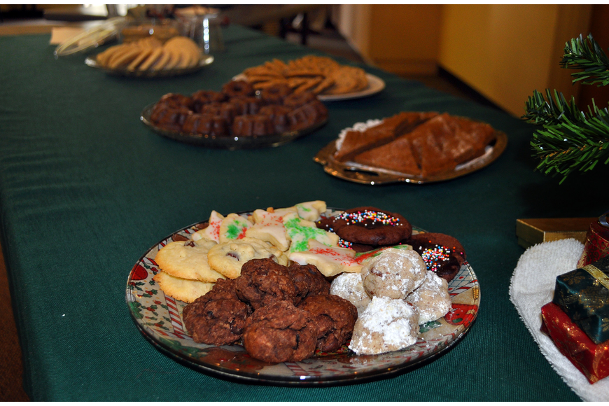 There were two tables filled with homemade and store bought cookies brought by those who attended St. Boniface's annual Cookies and Carols event, Sunday, Dec. 11, inside St. Boniface's Parish Hall.