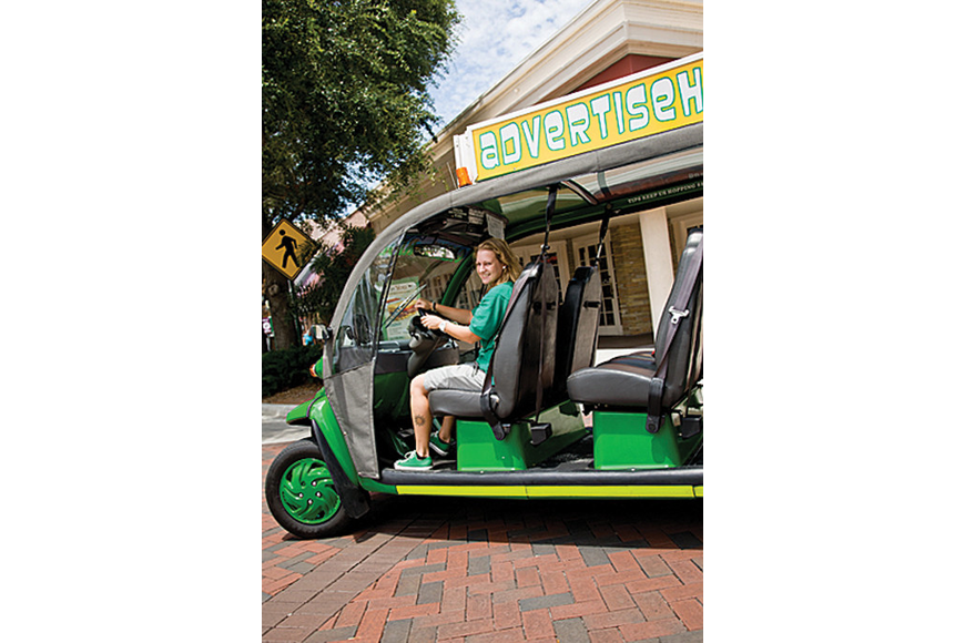Briana O'Brien introduced the Siesta Key Village Association to her free, electric taxi service, the Green Hopper.
