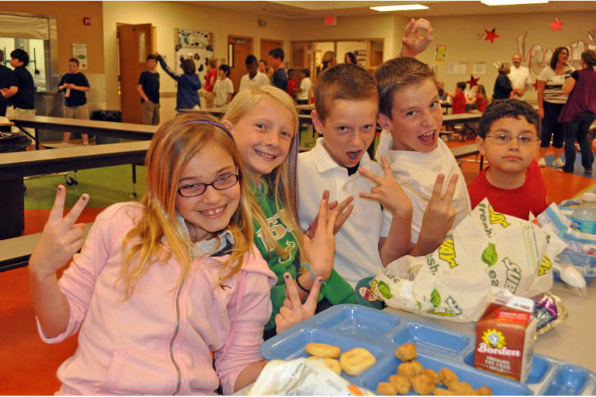 Gracie Dunn, Meghan Corbran, Cameron Schilson, Quinn McNulty and Mario DiMaio thoroughly enjoyed Cafeteria Rock Star Day.