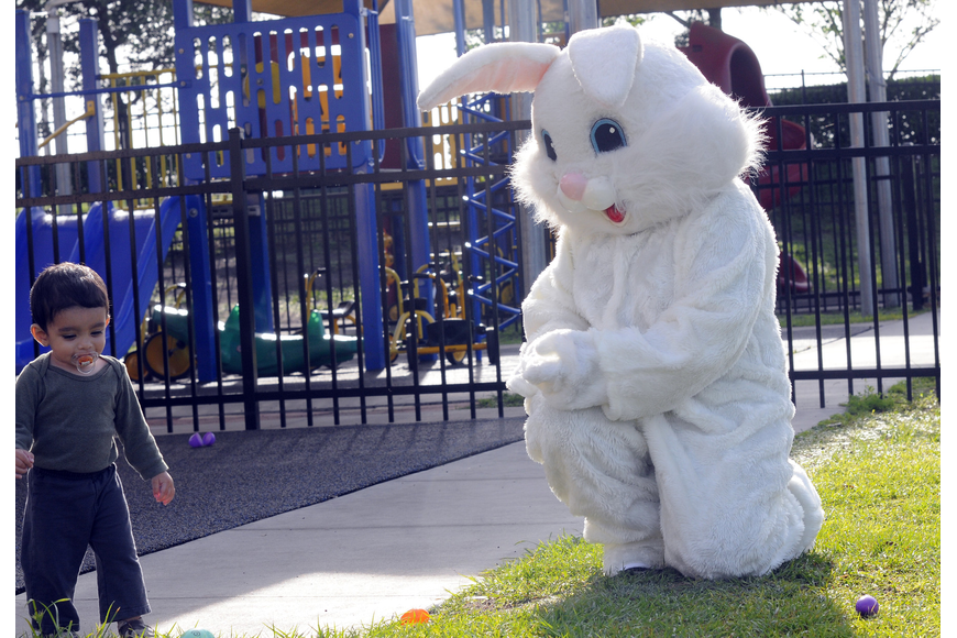 One-year-old Abdullah Khan enjoyed a special visit from the Easter Bunny.