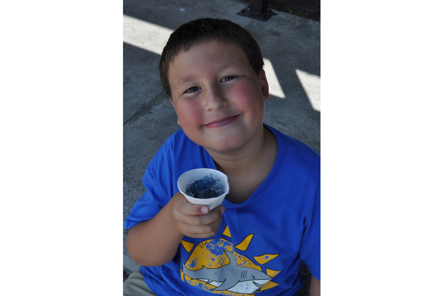 Skyler Gearin, 9, enjoyed a snow cone.