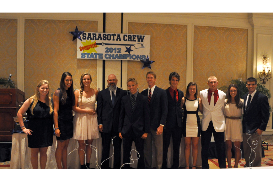Coach Casey Galvanek with the senior rowers