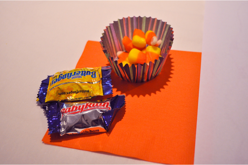 Each lady had two mini candy bars and a cupcake liner full of candy corn at their seat.