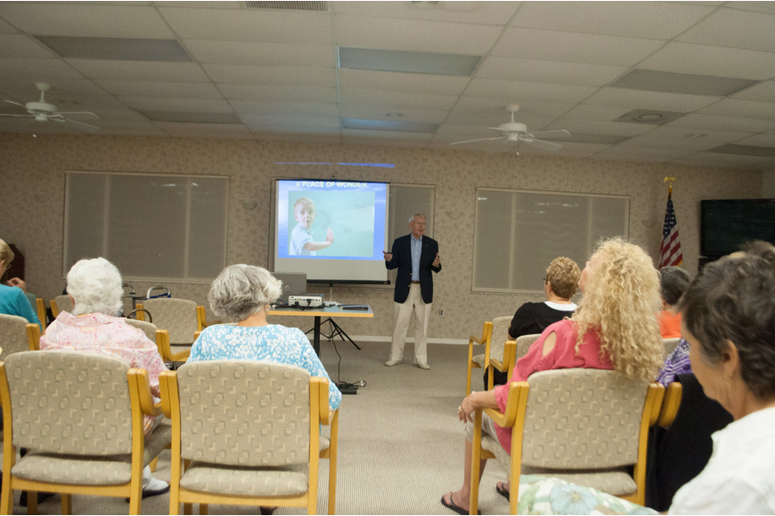 Joe Mathis, a 14 - year volunteer of Mote Aquarium, spoke to the Garden Club about research and programs.