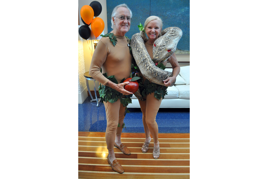 Jack and Phyllis Black dressed as Adam and Eve.
