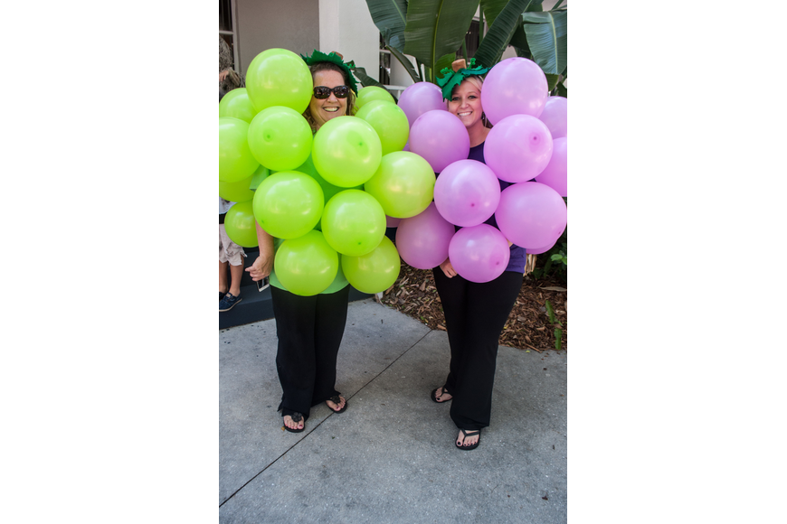 Fourth grade teachers Emily Latta and Brittany Hiller made grape costumes out of blown up balloons.