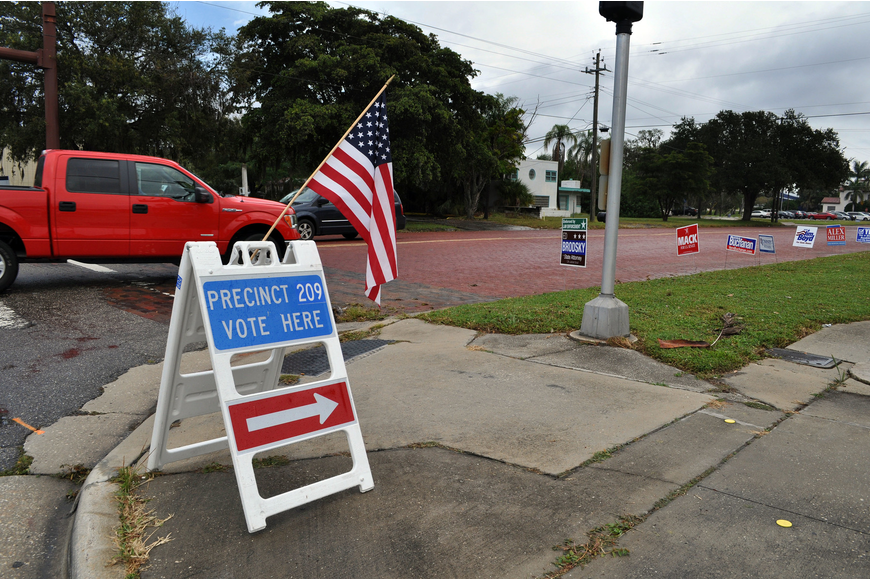 Signs promoting candidates line Oak Street where one of the many polling places is located Wednesday, Nov. 6, Election Day.
