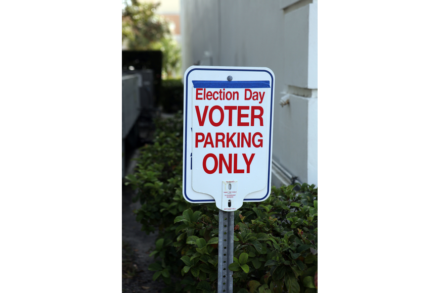 Parking spaces were reserved for voters at the First Baptist Church on Main Street.