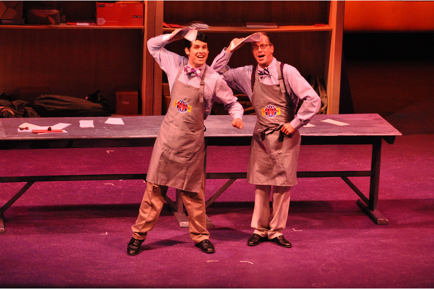 Jason Ellis as J. Pierrepont Finch and Brad Wages as Mr. Twimble