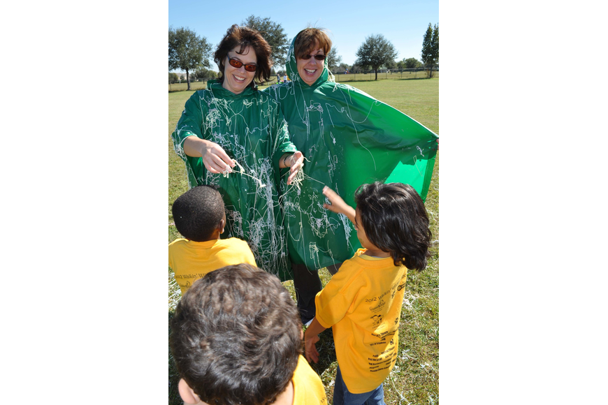 Assistant Principal Katherine Price and Principal Norma Scott got covered in Silly String by children in Stacy Freeman's kindergarten class.