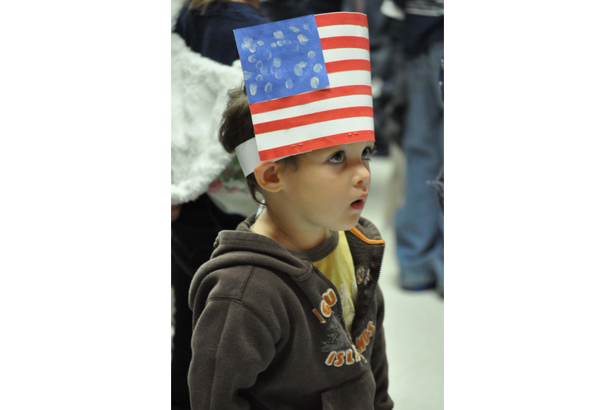 Andrew Hueffner wore a patriotic hat to the assembly at Freedom Elementary.
