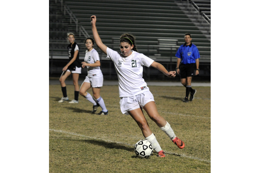 Lakewood Ranch junior midfielder Angelica Rego looks to pass the ball.