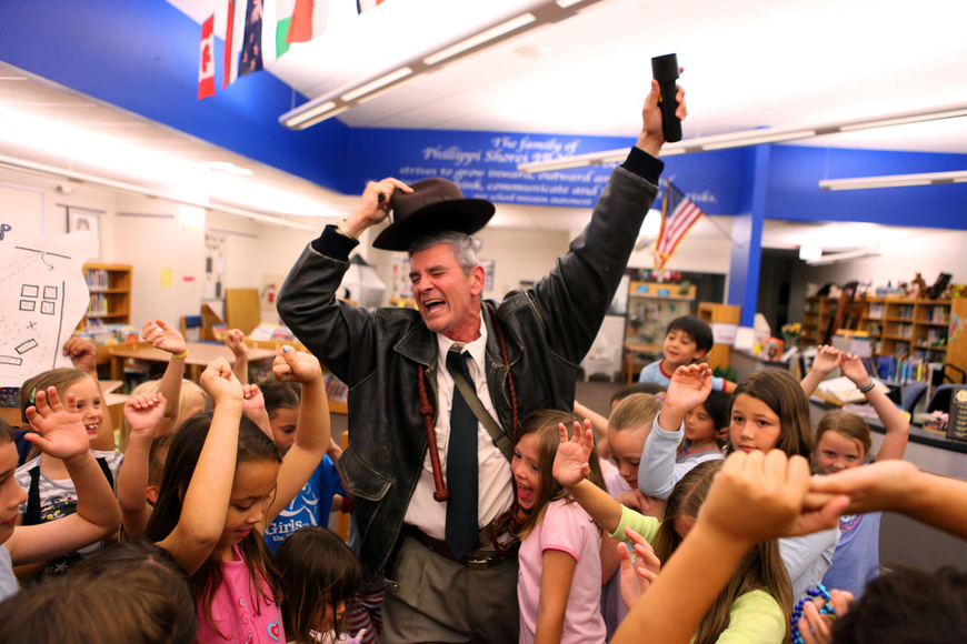 Phillippi Shore Elementary teacher Michael Gange, dressed as indiana Jones, led the students on a treasure hunt April 26, during Phillippi Shores' storybook and PJ night.