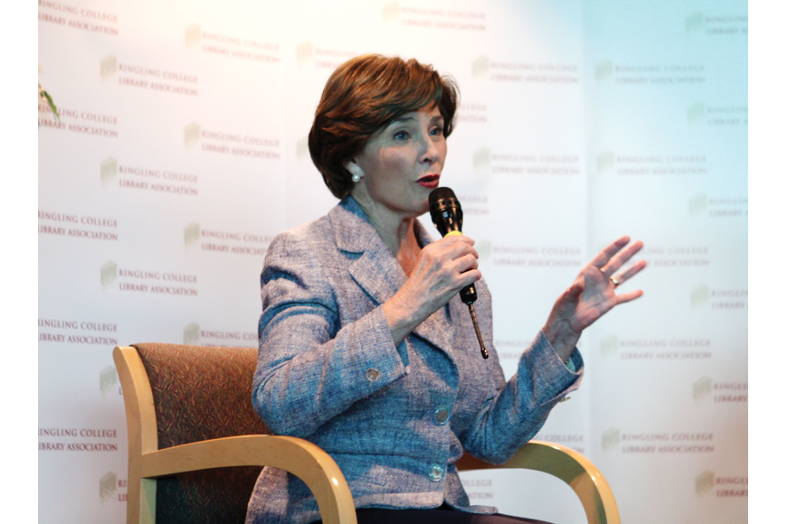 Former first lady Laura bush answered questions before a packed house for Ringling College Library's Town Hall Lecture Series Wednesday, Jan. 11, at Van Wezel.