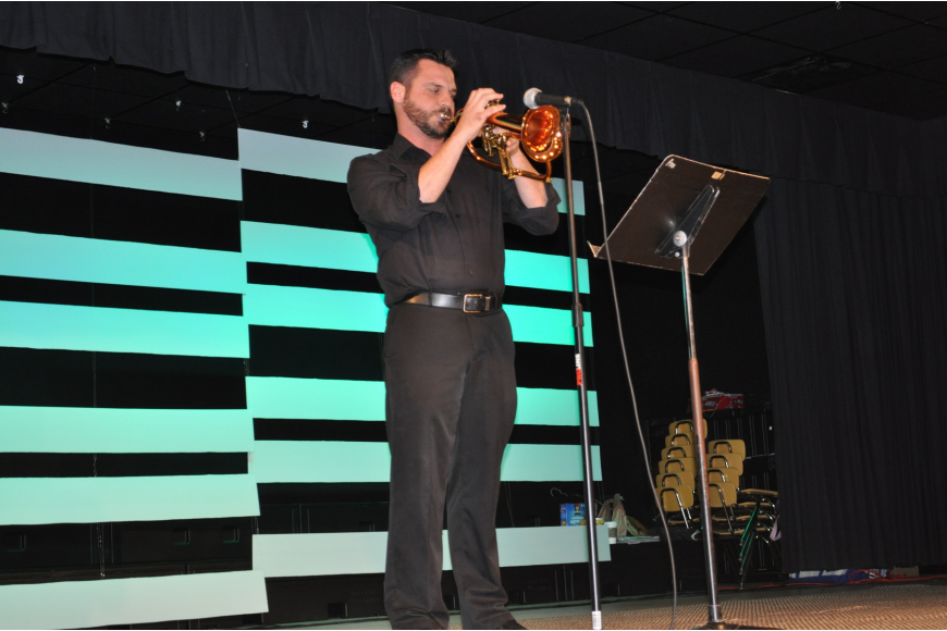Luke Jones, a Braden River Middle School music teacher, played a trumpet solo.