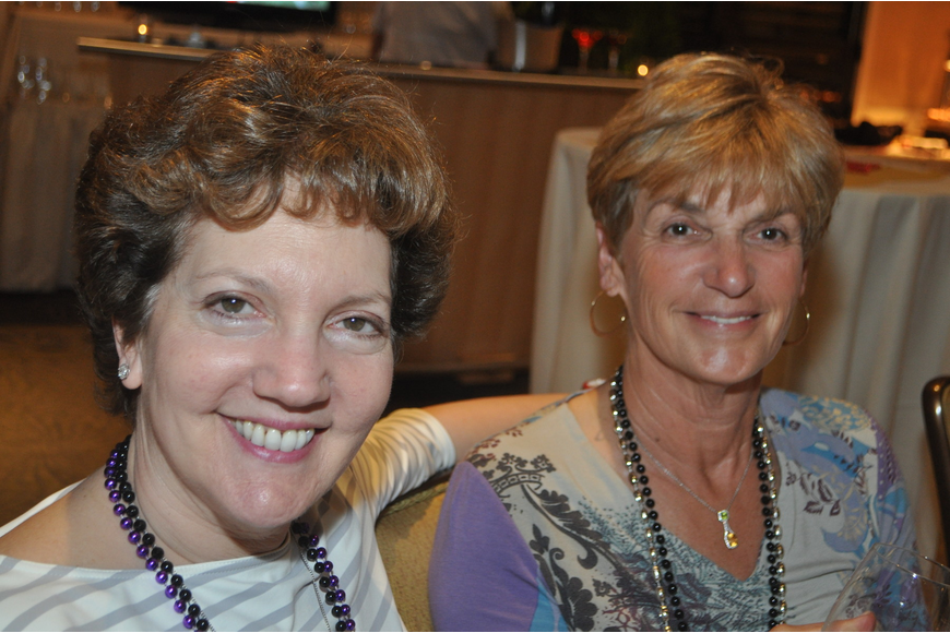 Lora Goldwater, with her sister-in-law, Bobbi, at the Longboat Key Club Super Bowl party