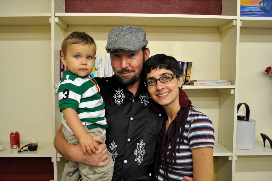 Artist, Truman Adams with his wife, Brandy and son, Sky.