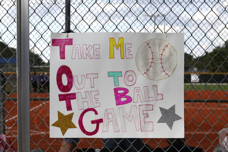 One of the many signs at the Riverview versus East Lake game, Tuesday, April 16, at Miss Sarasota Softball Complex.