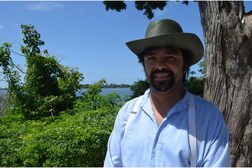 Actor Alessandro Rossal played the old Spanish Trader at Historic Spanish Point.