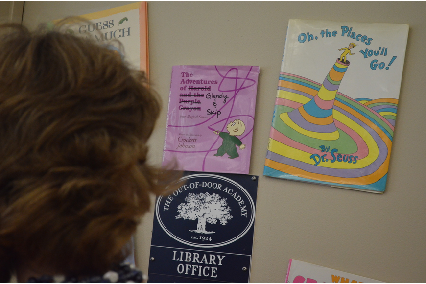 Staff members renamed storybooks by inserting Glendy's name into the tittles.