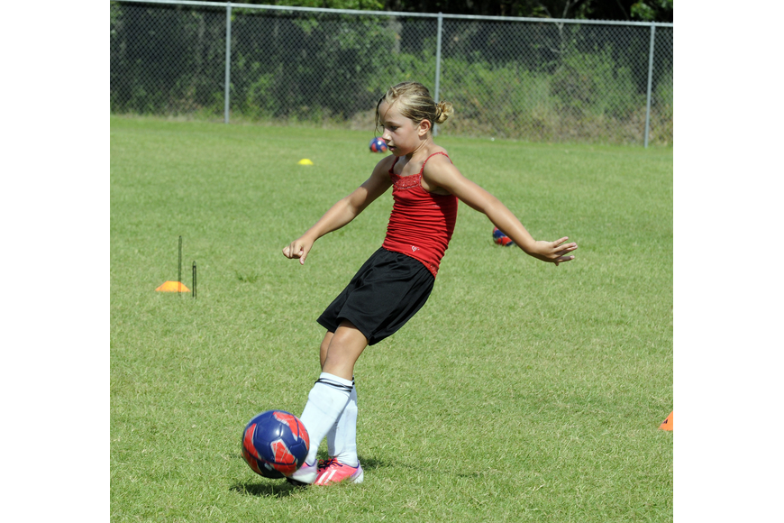 Eight-year-old Callista Marquette plays soccer for the Lakewood Ranch Chargers U9 team.